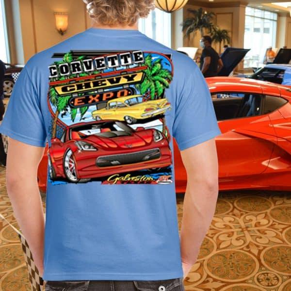 Corvette Chev y Expo Event T-Shirt on Blue