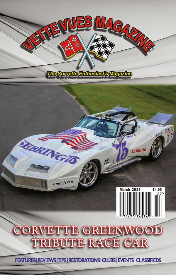 Cover of March 2021 issue Vette Vues Magazine, Volume 49 issue 8