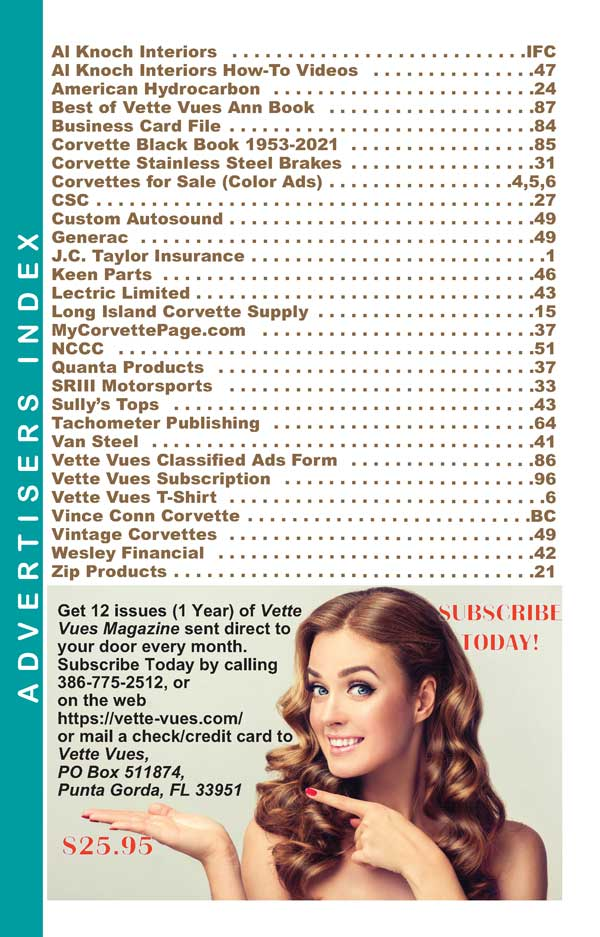 Advertisers Index March 2021 issue Vette Vues Magazine