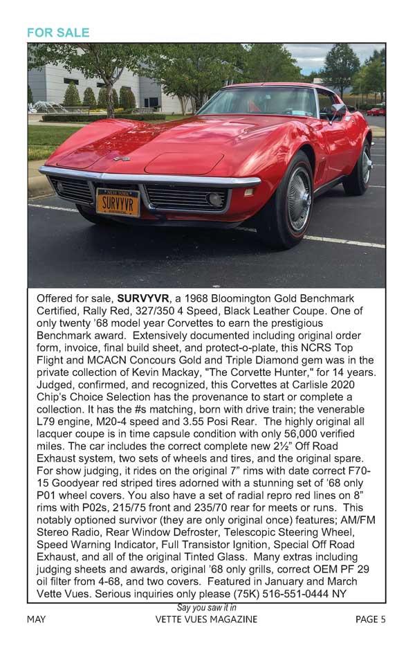 1968 Corvette For Sale  516-551-0444