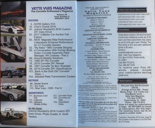 January 2018 Vette Vues Magazine Articles