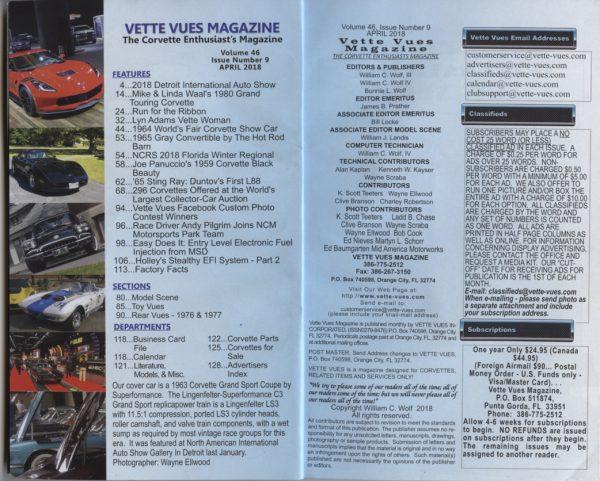 April 2018 Vette Vues Magazine Article