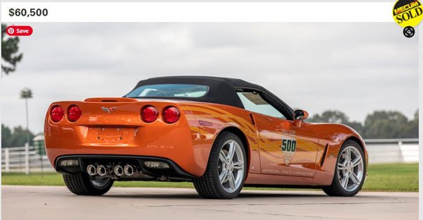 In 2020 at the Dallas Mecum Auction they offered a Low Mile Corvette Pace Car Collection.  There was a 2007 Corvette Pace Car with only 7 miles on it that sold for $60,500. Photo Courtesy Mecum Auction