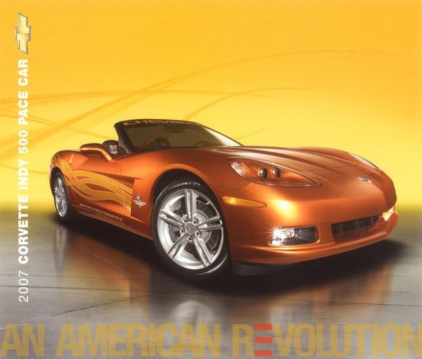"""Our second card for the 2007 Corvette we are looking at on the Vette Vues blog today is for the 2007 Corvette Indy 500 Pace Car. Again the theme """"AN AMERICAN REVOLUTION"""" is on the front of the card."""