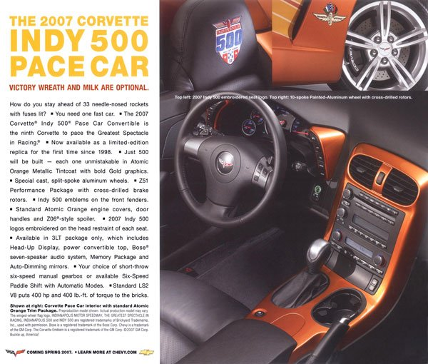 2007 Chevrolet Corvette Indy Pace Car Card Options