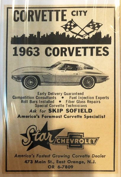 """Image Credit: Dave Murdock Collection – Caption: The ad says, """"Ask for Skip Sofield"""" because he was Star Chevrolet's go-to guy for all things Corvette in the 1960s. Star Chevrolet even advertised race car preparation, fuel-injection expertise, fiberglass repair, and """"Special Corvette Technicians."""""""