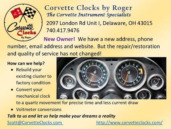 Corvette Clocks by Roger 740-417-9476