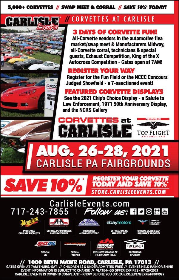 Corvettes at Carlisle August 26-28, 2021 at Carlisle, PA.