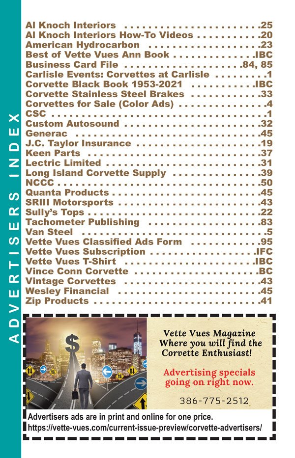 July 2021 Advertisers Vette Vues Magazine