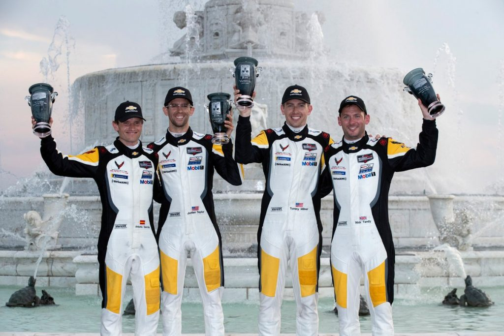 Tommy Milner and Nick Tandy won an all-Chevrolet Corvette C8.R battle in the GT Le Mans (GTLM) category of the Detroit Sports Car Challenge on Saturday at Belle Isle Park.