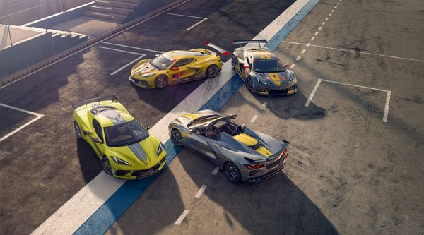 Overhead View of the 2022 Chevy Corvette Championship Edition and Corvette C8.Rs