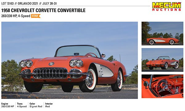 Mecum's Orlando Florida Summer Collector Car Auction July 28-31, 2021