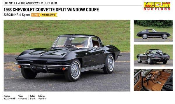 1963 Chevrolet Corvette Split Window Coupe Lot S111.1