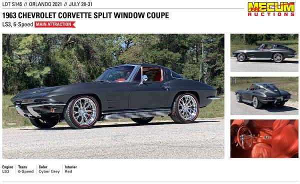 1963 Chevrolet Corvette Split Window Coupe Lot S145