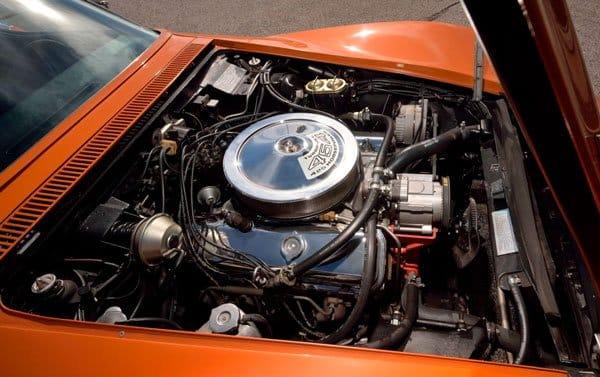 The engine in 1971 Ontario Orange Corvette ZR2 Convertible Sold $380,000 at Mecum Auction 2019