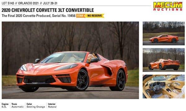 2020 C8 Chevrolet-Corvette 3LT Convertible Lot S143