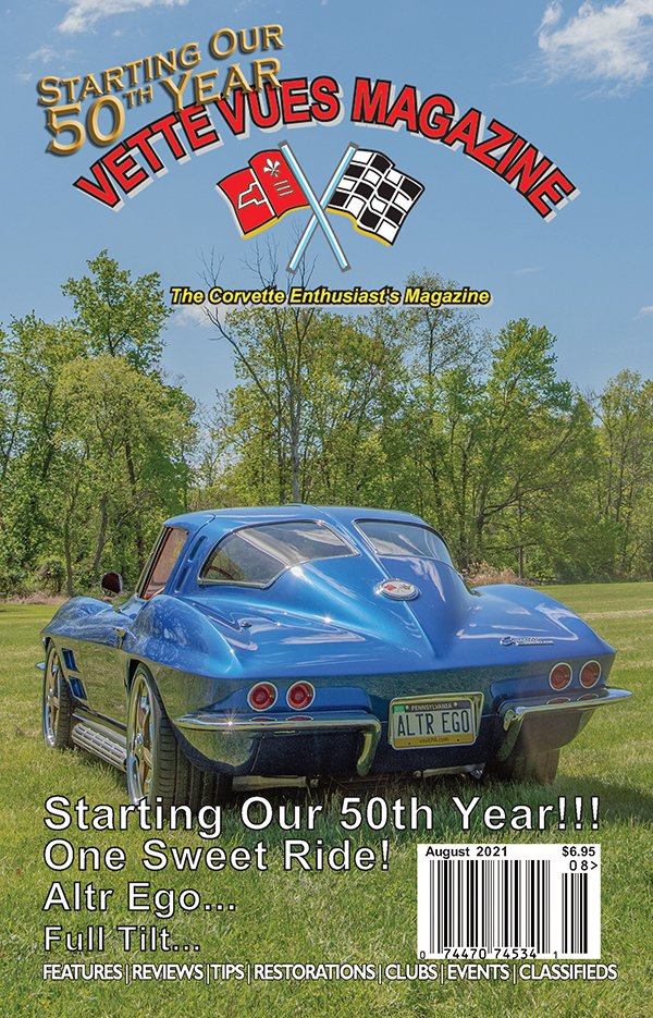 """August 2021 Cover Vette Vues Magazine: Our cover car is owned by David Semel.  His 1963 """"Altr Ego"""" split-window Corvette restomod sits on the SRIII custom chassis. It has the C6 suspension, Z06 brakes, and a big horsepower supercharged LS9 engine under the hood. The custom paint is Hyper Blue Metallic from the 2016 Camaro. The custom interior and custom craft burlwood accent pieces set off the car's interior."""