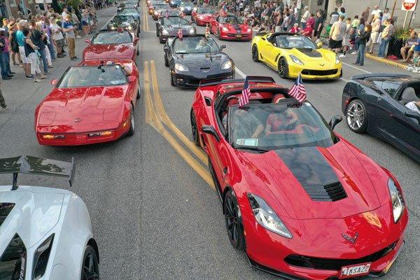 Corvettes at Carlisle Downtown Parade