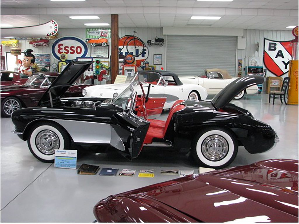 1956 Corvette, Onyx Black, Red Interior, Black Soft Top (one of 103 cars ), All Correct Numbers 265-220hp, 3 Speed, Full Frame off Restored car,  Heater, Parking Brake Alarm, Courtesy Lights, Windshield  Washers, White Wall Tires, Two -Tone paint, Radio Delete car, Bloomington Gold, NCRS Top Flight (no Certificate), Some  Restoration Receipts, Restoration Photos, Original Owners Manuel, and Glove Box paperwork, Participate of  Corvettes at Carlisle 1956 Reunion 2006, Best Color offered in 1956 Corvette, Show or Drive www.vintagecorvettes.com 706 857-3916