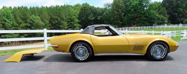 Lot F67.1 is a War Bonnet Yellow Convertible that sold for $50,600