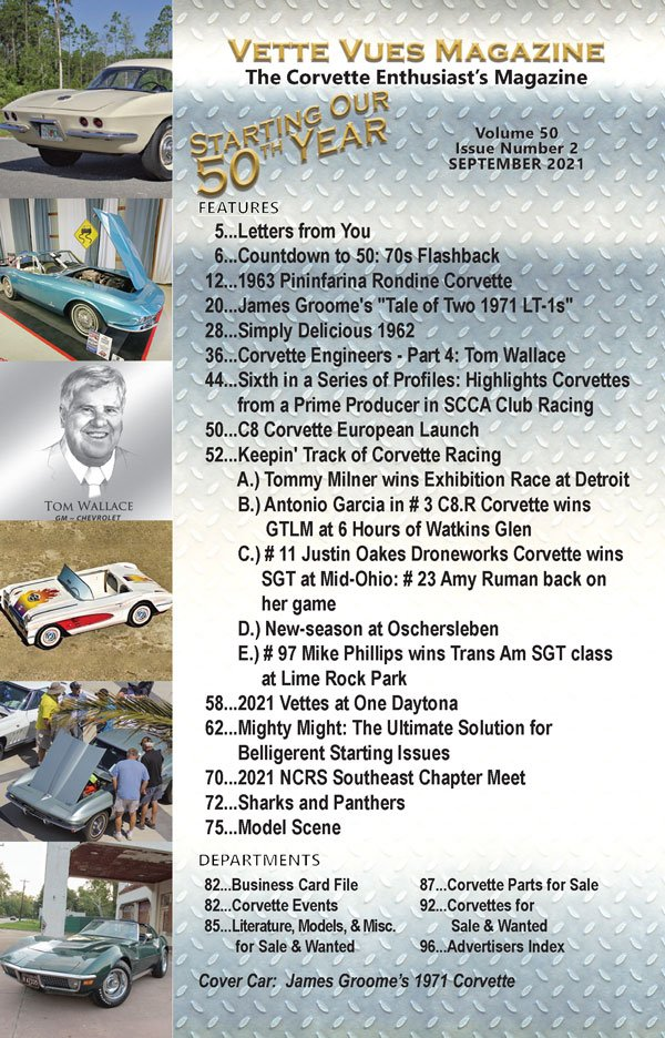 Articles in the September 2021 Corvette Vues Vues Magazine