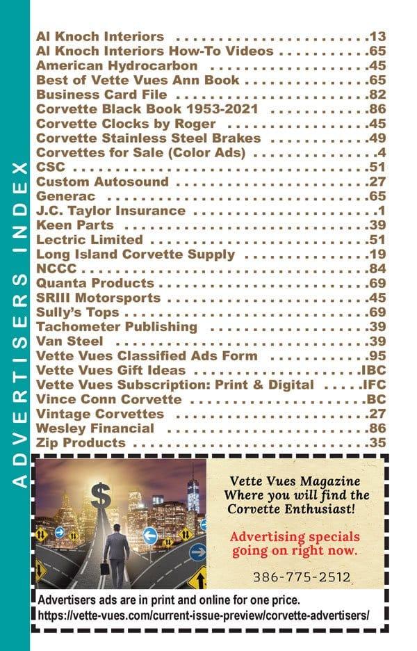 Corvette Advertisers in the September 2021 Corvette Vues Vues Magazine