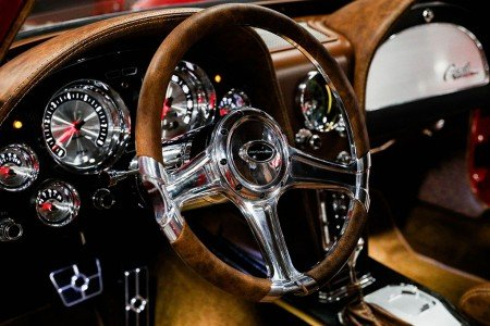 1963 Corvette Split-Window Resto-Mod by Jeff Hayes Customs has a custom distressed leather Saddle interior. Photo Credit: Barrett-Jackson