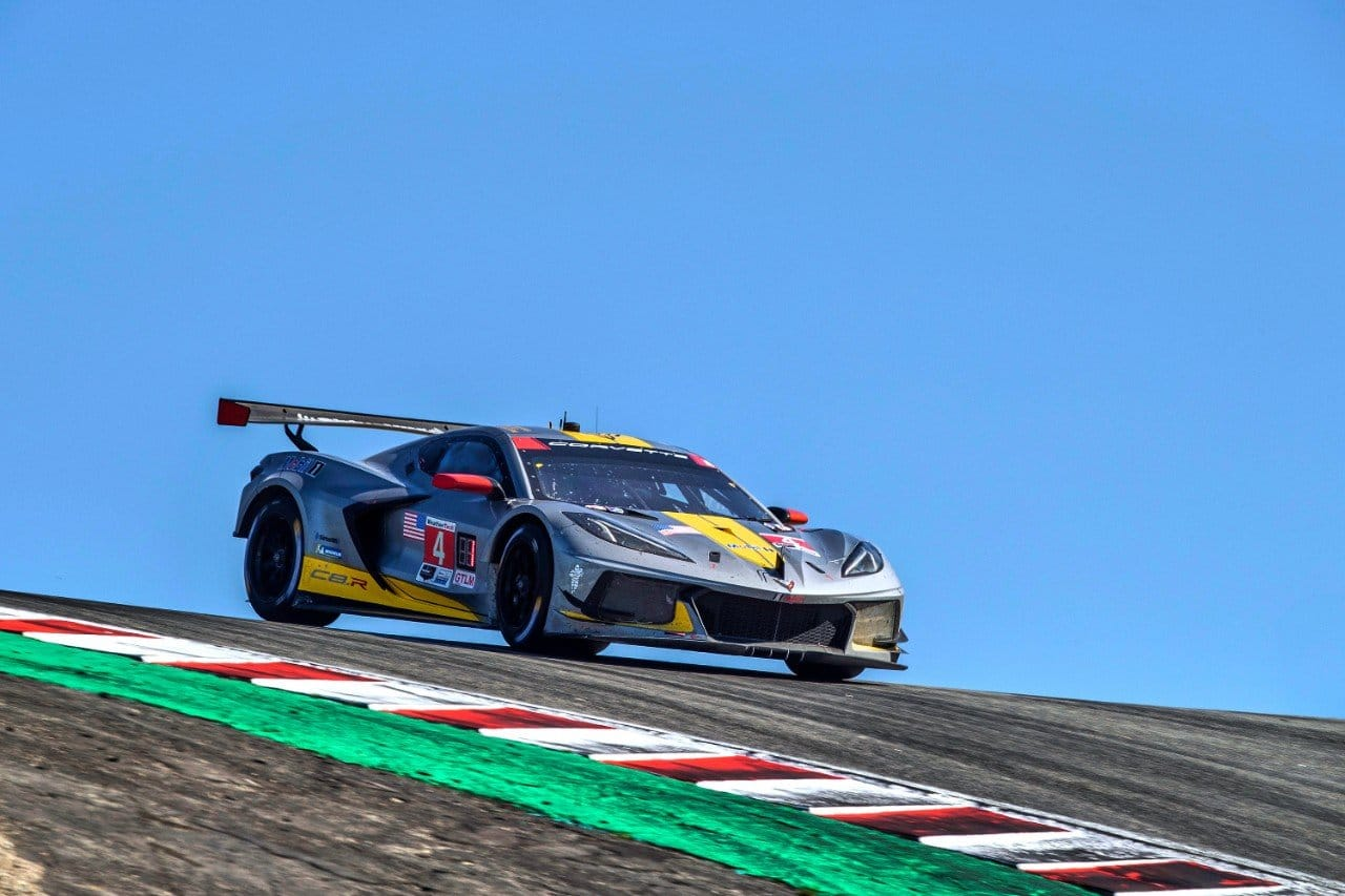 The #4 Mobil 1/SiriusXM Chevrolet Corvette C8.R driven by Tommy Milner and Nick Tandy races to victory in the GTLM class Sunday, September 12, 2021 winning the IMSA WeatherTech SportsCar Championship Hyundai Sports Car Championship at WeatherTech Raceway Laguna Seca in Monterey, California. (Photo by Richard Prince for Corvette Racing)