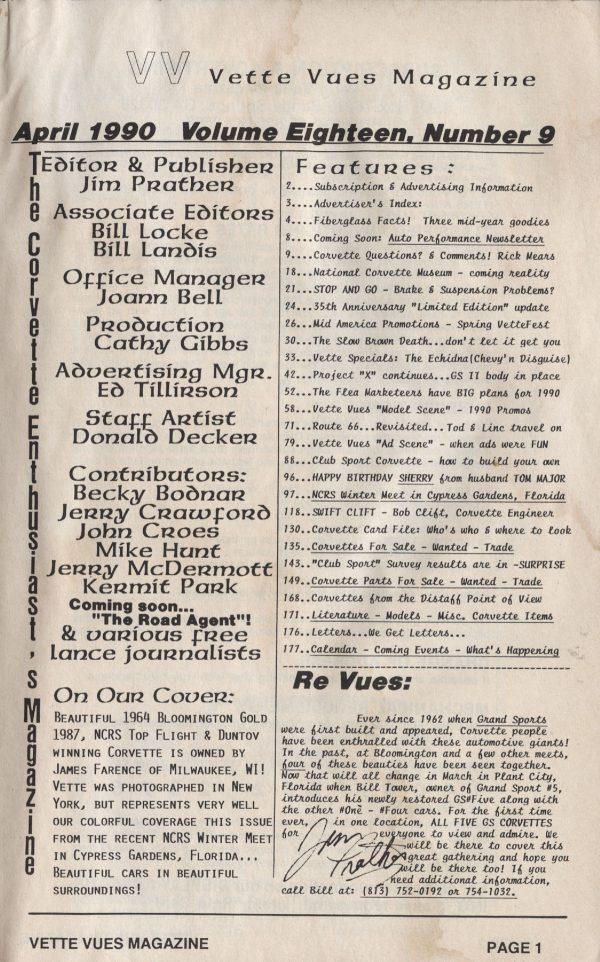 April 1990 Articles in Vette Vues Corvette Magazine