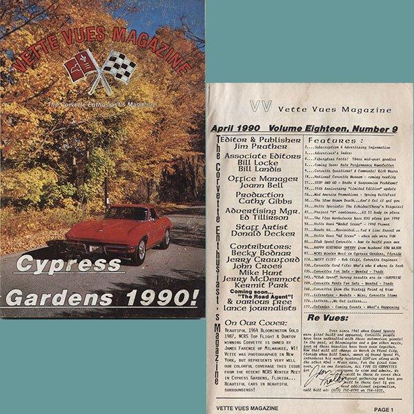 April 1990 Vintage Vette Vues Corvette Magazine Back Issue