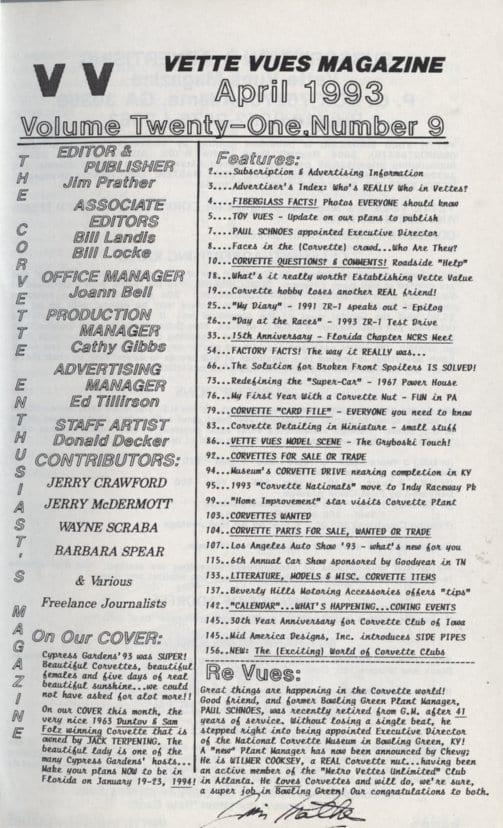 April 1993 Articles in Vette Vues Corvette Magazine