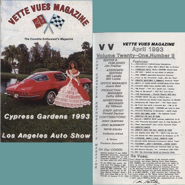April 1993 Vintage Vette Vues Corvette Magazine Back Issue