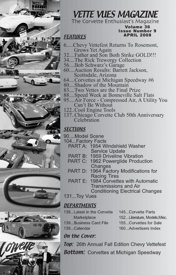 April 2008 Articles in Vette Vues Corvette Magazine