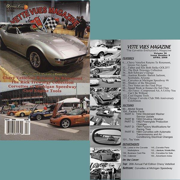 April 2008 Vintage Vette Vues Corvette Magazine Back Issue