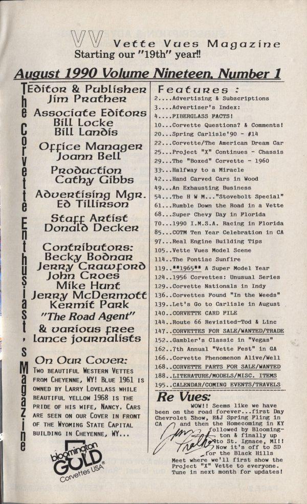 August 1990 Articles in Vette Vues Corvette Magazine