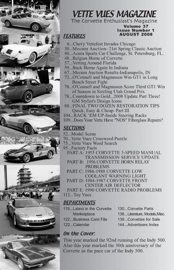 August 2008 Articles in Vette Vues Corvette Magazine