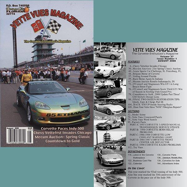 August 2008 Vintage Vette Vues Corvette Magazine Back Issue