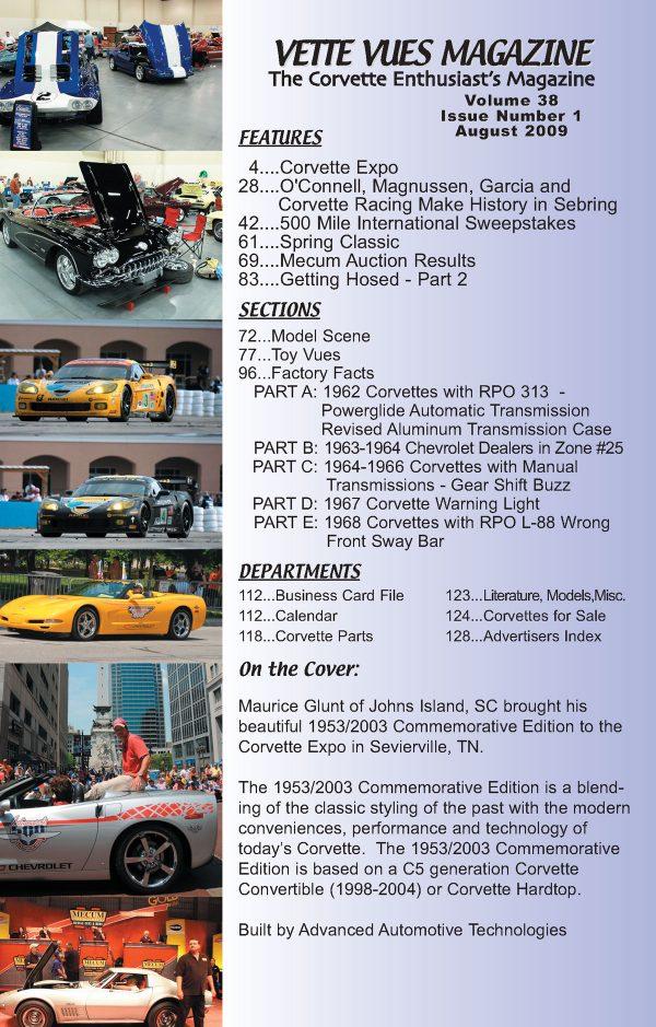 August 2009 Articles in Vette Vues Corvette Magazine