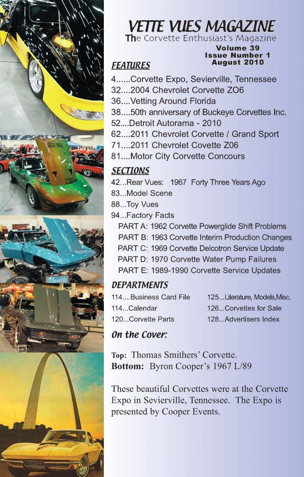 August 2010 Articles in Vette Vues Corvette Magazine