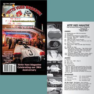 August 2011 Vette Vues Magazine Back Issue for Sale