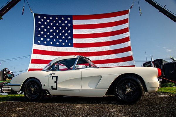 """A 36"""" x 24"""" foot America Flag served as the backdrop for photos and proved to be a symbol of freedom throughout the day at the 2021 Corvettes at Carlisle."""
