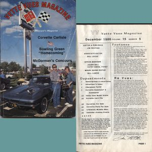 December 1986 Vintage Vette Vues Corvette Magazine Back Issue