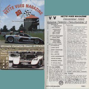 December 1993 Vintage Vette Vues Corvette Magazine Back Issue