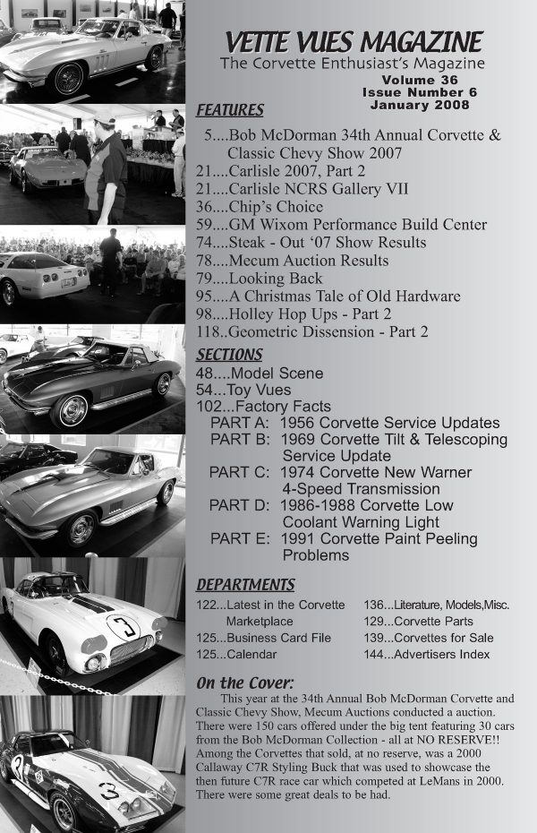 January 2008 Articles in Vette Vues Corvette Magazine