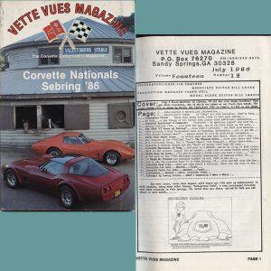 July 1986 Vintage Vette Vues Corvette Magazine Back Issue