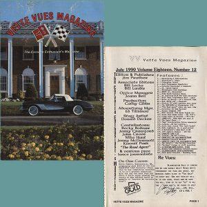 July 1990 Vintage Vette Vues Corvette Magazine Back Issue