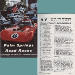 March 1993 Vette Vues Magazine Back Issue