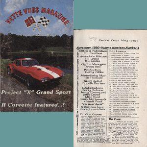 November 1990 Vintage Vette Vues Corvette Magazine Back Issue