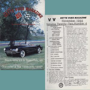 November 1993 Vintage Vette Vues Corvette Magazine Back Issue