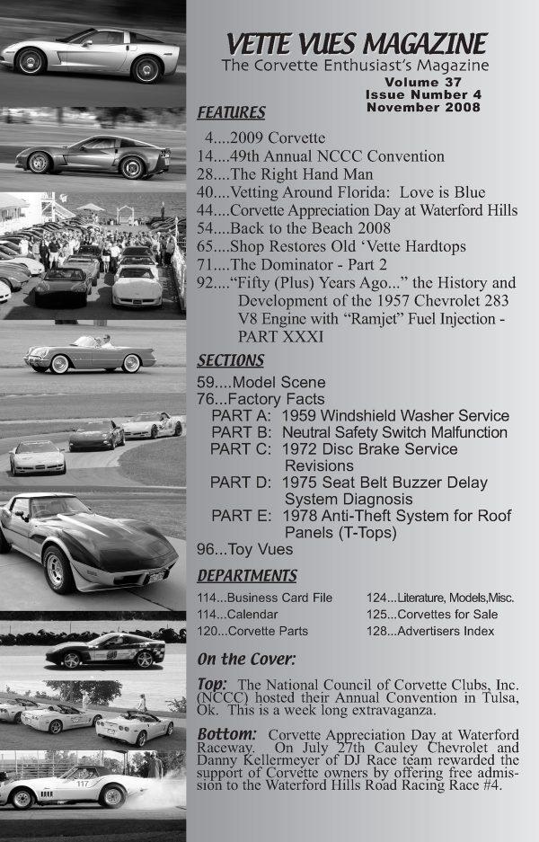 November 2008 Articles in Vette Vues Corvette Magazine